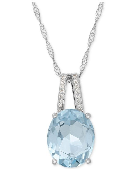 Macy's | Multicolor Aquamarine (2-1/5 Ct. T.w.) And Diamond Accent Pendant Necklace In 14k White Gold | Lyst