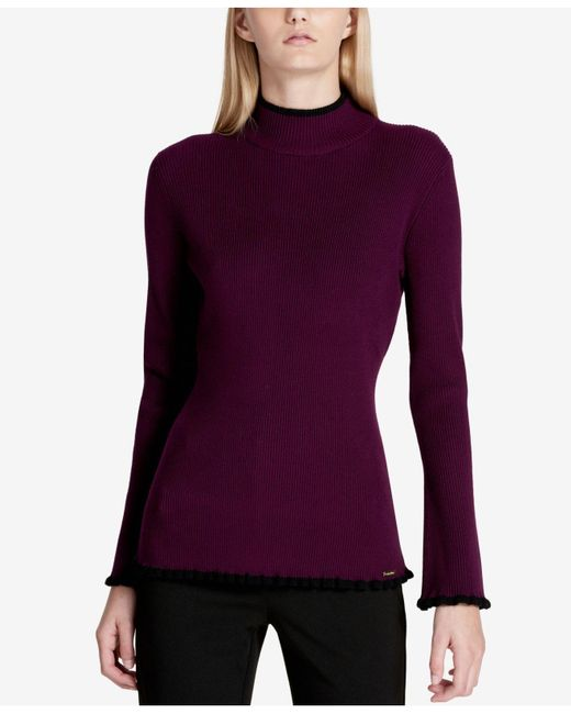 Calvin Klein   Purple Piped Mock Neck Sweater   Lyst