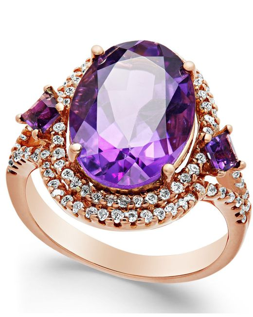 Macy's - Pink Amethyst (5-3/4 Ct. T.w.) And Diamond (3/8 Ct. T.w.) Ring In 14k Rose Gold - Lyst