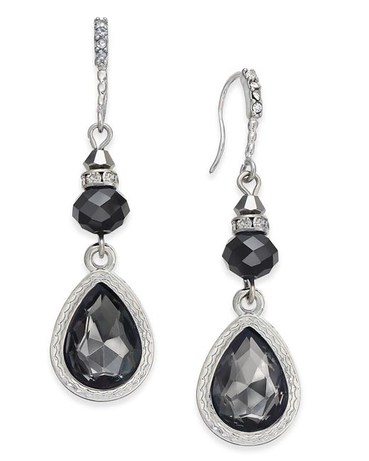 INC International Concepts - Black Silver-tone Jet Stone Drop Earrings - Lyst