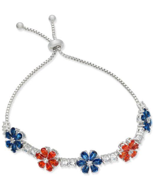Joan Boyce - White Clear & Colored Crystal Flower Slider Bracelet - Lyst