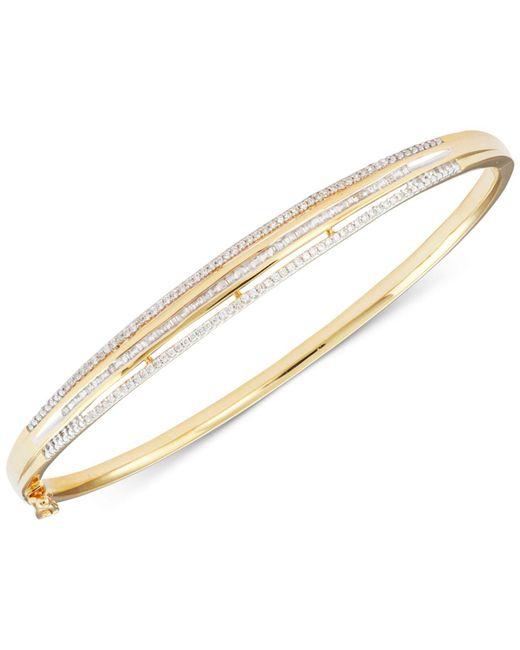 Macy's - Metallic Diamond Three-row Bangle Bracelet (1/2 Ct. T.w.) In 18k Gold Over Sterling Silver - Lyst