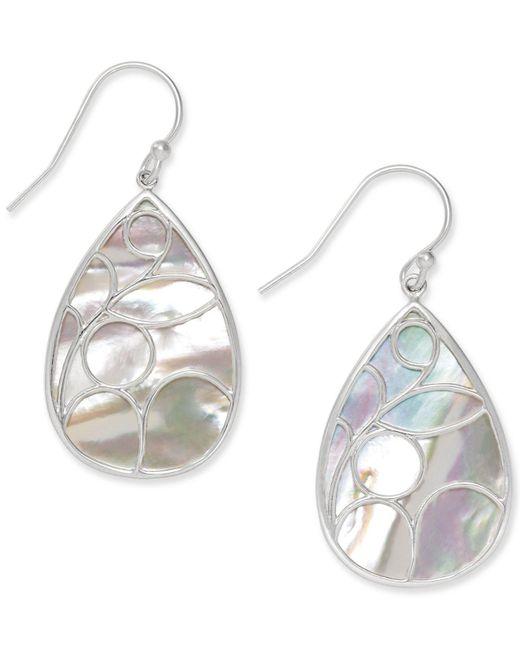 Macy's - White Mother Of Pearl Caged Teardrop Earrings In Sterling Silver - Lyst