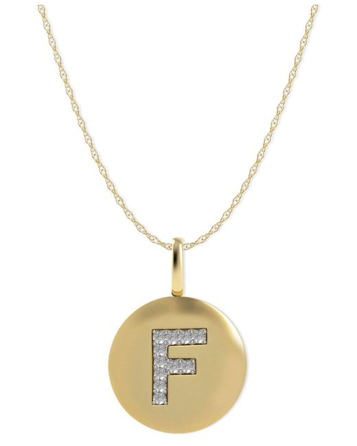 Macy's - Metallic 14k Gold Necklace, Diamond Letter F Disk Pendant (1/10 Ct. T.w.) - Lyst