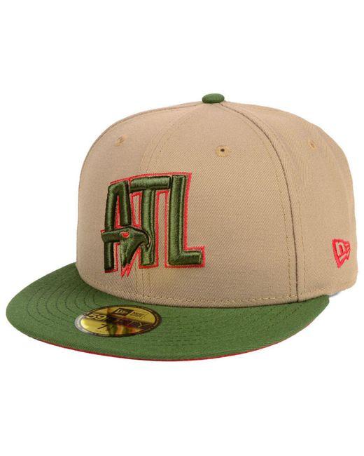 KTZ - Green Atlanta Hawks Fall 2 Tone Combo 59fifty-fitted Cap for Men ... d0395d5dbc75