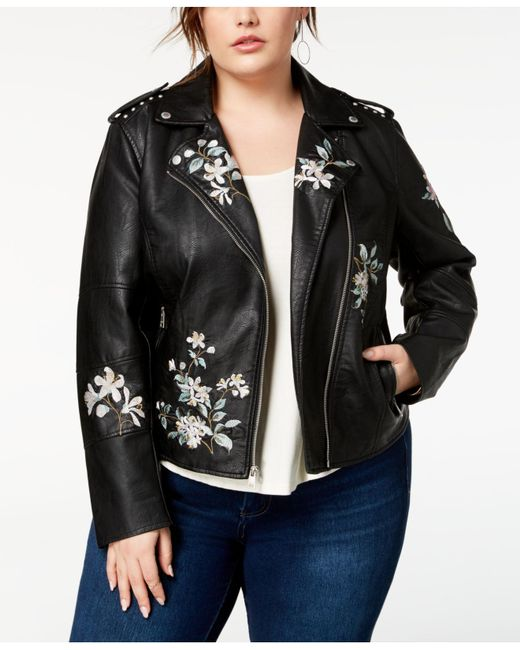 Levi's - Black ® Plus Size Embroidered Faux-leather Moto Jacket - Lyst