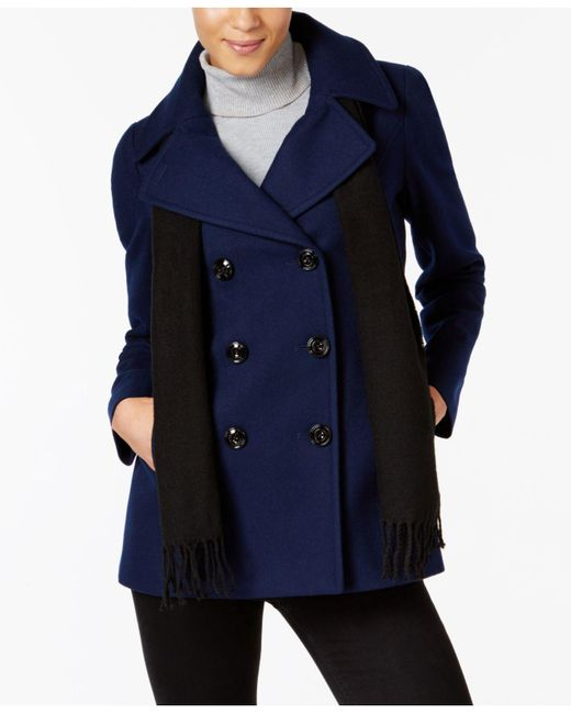 London Fog - Blue Petite Double-breasted Peacoat & Scarf - Lyst
