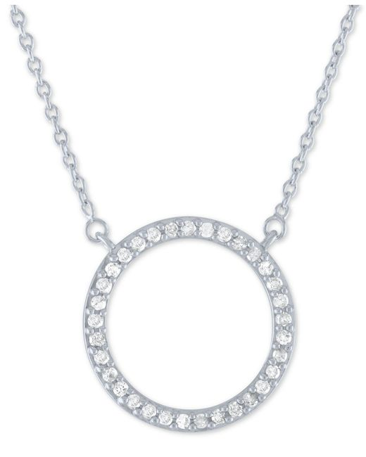 "Macy's - Metallic Diamond Circle Pendant Necklace (1/4 Ct. T.w.) In Sterling Silver, 16"" + 2"" Extender - Lyst"