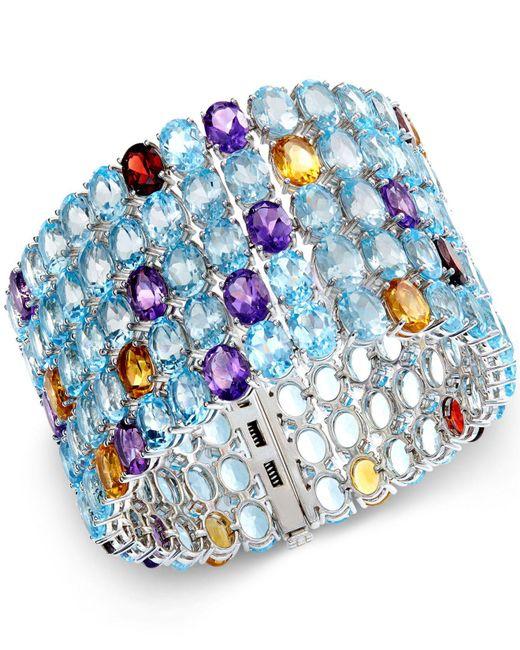 Macy's - Blue Multi-stone Five Row Bracelet In Sterling Silver (204-2/5 Ct. T.w.) - Lyst