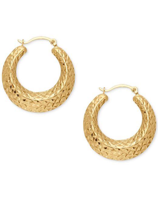 Macy's | Metallic Textured Hoop Earrings In 14k Gold | Lyst