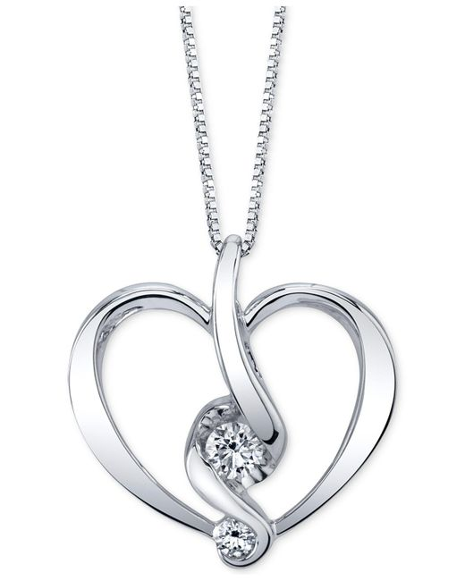 Proud Mom - Metallic Diamond Heart Pendant Necklace (1/5 Ct. T.w.) In 14k Gold Or White Gold - Lyst