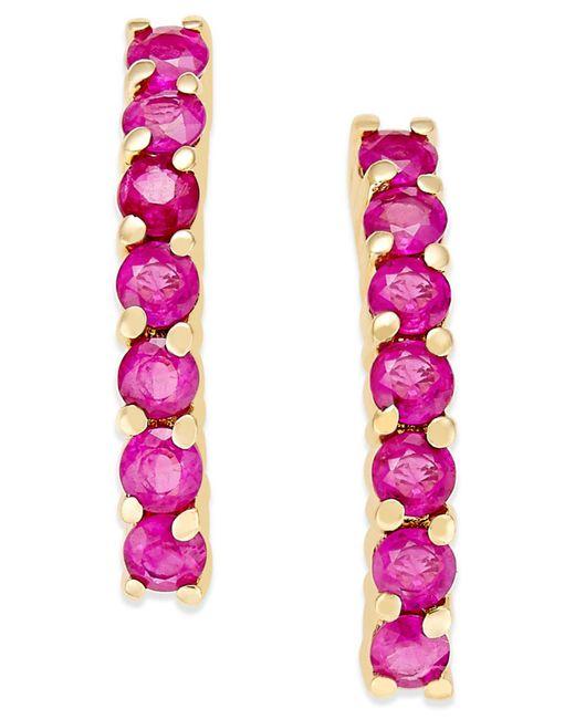 Macy's | Purple Ruby Studded Linear Drop Earrings (1-3/8 Ct. T.w.) In 14k Gold | Lyst