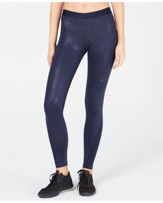 Nike - Blue Pro Metallic-print Leggings - Lyst