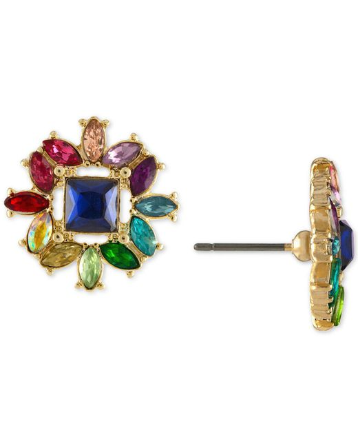 RACHEL Rachel Roy - Multicolor Gold-tone Multi-stone Cluster Stud Earrings - Lyst