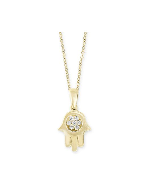 """Effy Collection - Metallic D'oro By Effy® Diamond Accent Hamsa Hand 18"""" Pendant Necklace In 14k Gold - Lyst"""