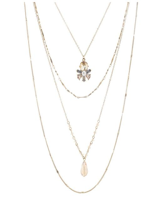 Catherine Malandrino - Metallic Multicolored Rhinestone Cluster Style Yellow Gold-tone Multi Layered Necklace - Lyst