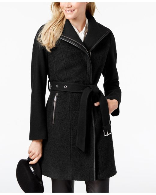 T Tahari - Black Elaine Asymmetrical Belted Coat - Lyst