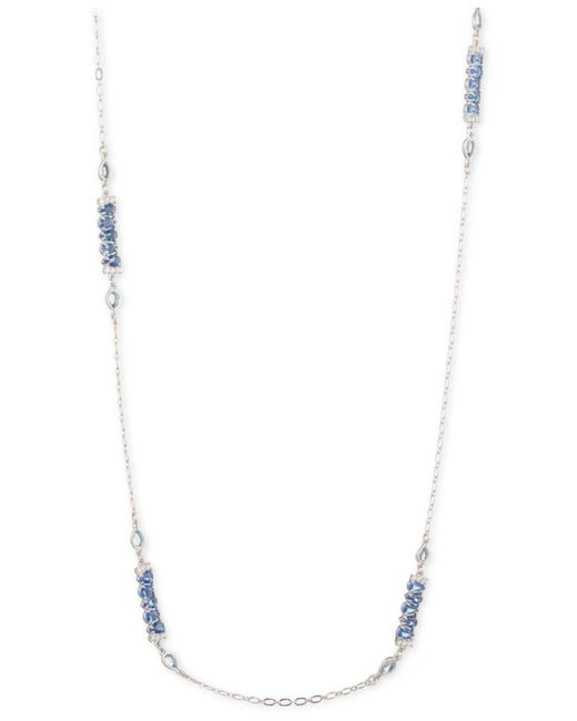 """Carolee - Metallic Silver-tone Crystal 36"""" Station Necklace - Lyst"""