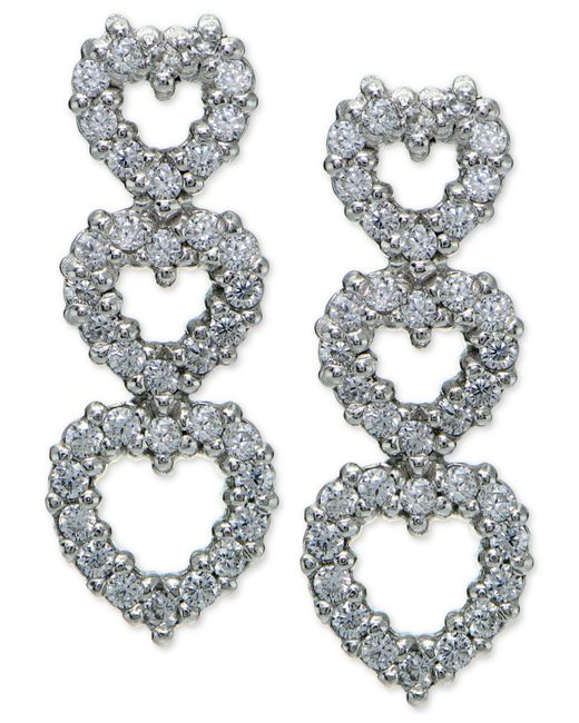Giani Bernini - Metallic Cubic Zirconia Pavé Triple Heart Drop Sterling Silver Earrings - Lyst