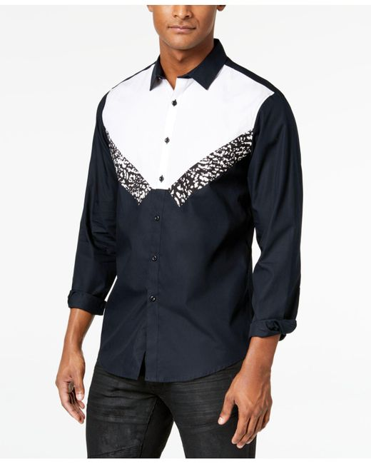 INC International Concepts - Black Tuxedo-inspired Shirt, Created For Macy's for Men - Lyst