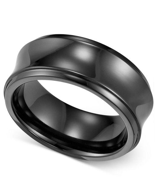 Triton - Men's Black Titanium Ring, Concave Wedding Band (8mm) for Men - Lyst