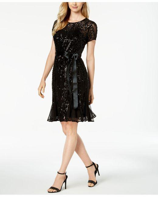 R & M Richards - Black Petite Sash-belt Sequined Dress - Lyst