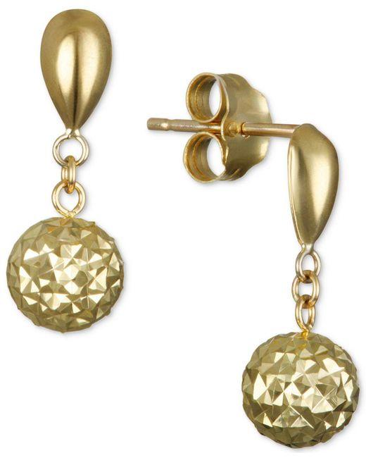 Macy's - Metallic Textured Drop Earrings In 10k Gold - Lyst