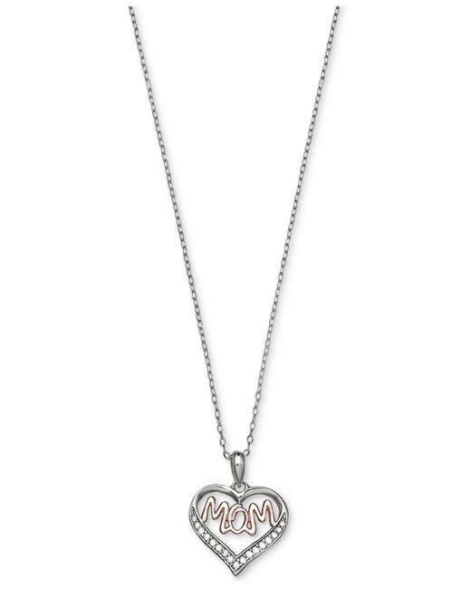 Giani Bernini - Metallic Cubic Zirconia Mom Heart Pendant Necklace In Sterling Silver And 18k Rose Gold-plate - Lyst