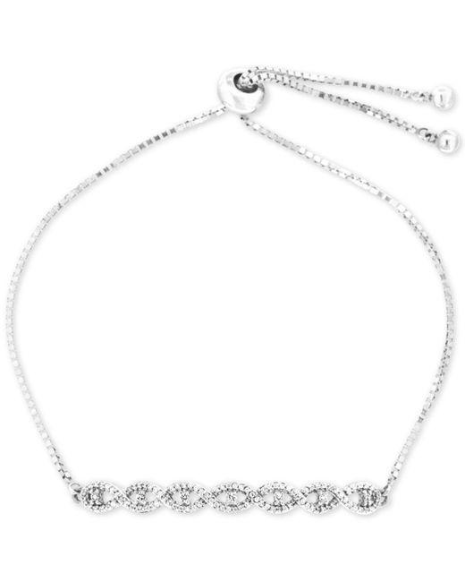 Wrapped in Love - Metallic Diamond Twist Slider Bracelet (1/4 Ct. T.w.) In Sterling Silver - Lyst