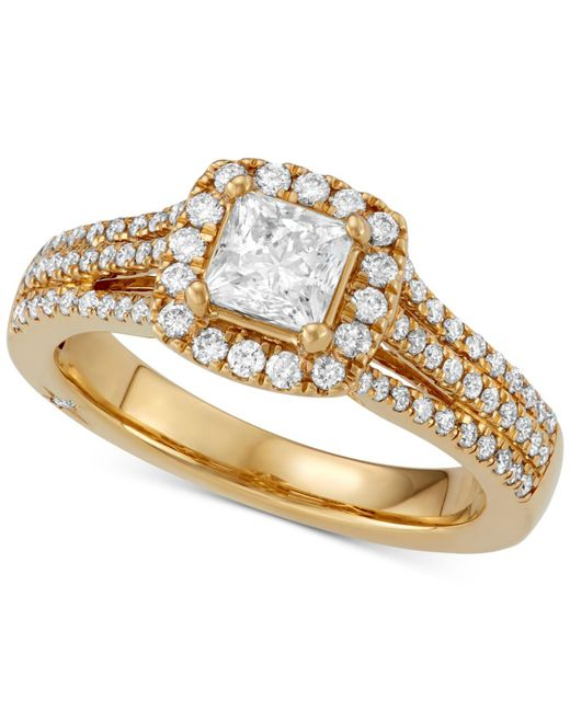 Marchesa - Metallic Celeste Halo By Certified Princess Cut Diamond Engagement Ring (1-1/5 Ct. T.w.) In 18k White - Lyst