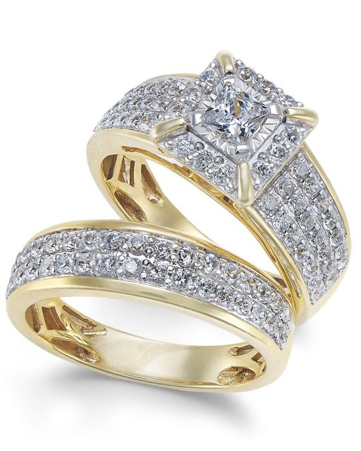 Macy's - Metallic Diamond Princess Pavé Bridal Set (1-1/2 Ct. T.w.) In 14k Gold - Lyst