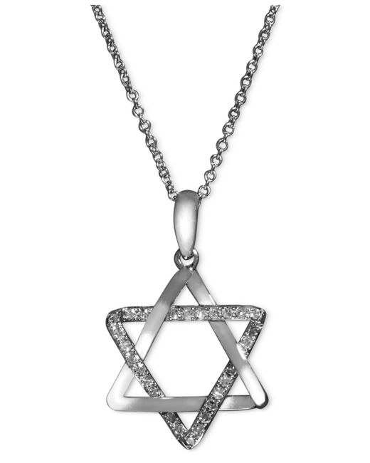 Effy Collection | Metallic Diamond Star Of David Necklace (1/8 Ct. T.w.) In 14k White Gold | Lyst