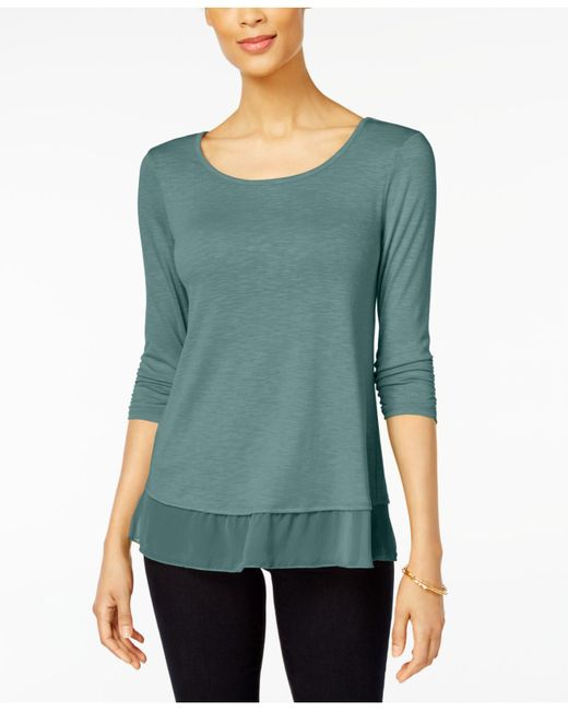 Style & Co. - Green Chiffon-hem Top, Created For Macy's - Lyst