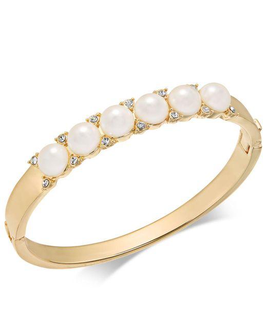 Charter Club   Metallic Gold-tone Pavé & Imitation Pearl Hinged Bangle Bracelet   Lyst