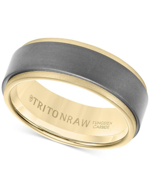 Macy's | Metallic Men's Band In Tungsten And 18k White, Yellow Or Rose Gold for Men | Lyst