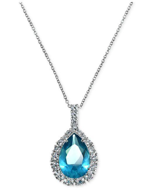 Giani Bernini - Metallic Aqua & Clear Cubic Zirconia Pendant Necklace In Sterling Silver - Lyst