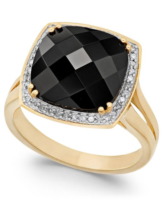 Macy's - Black Faceted Onyx (4-1/2 Ct. T.w.) And Diamond (1/5 Ct. T.w.) Ring In 14k Gold - Lyst
