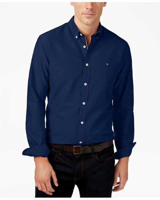 e5725c91 ... Tommy Hilfiger - Blue New England Solid Oxford Shirt for Men - Lyst