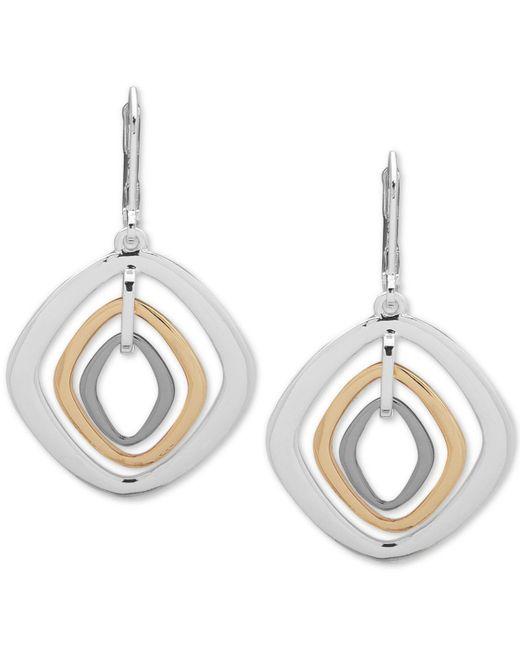 Nine West - Multicolor Tri-tone Orbital Drop Earrings - Lyst