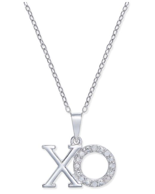 Macy's - Metallic Diamond Xo Pendant Necklace (1/10 Ct. T.w.) In Sterling Silver - Lyst