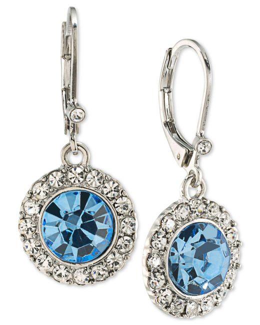 Carolee | Silver-tone Blue & Clear Crystal Drop Earrings | Lyst
