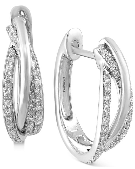 Effy Collection - Metallic Diamond Hoop Earrings (3/8 Ct. T.w.) In 14k White, Yellow Or Rose Gold - Lyst