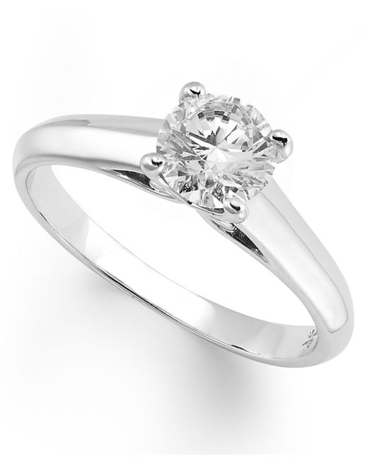 X3   Metallic Certified Diamond Solitaire Ring In 18k White Gold (1/2 Ct. T.w.)   Lyst