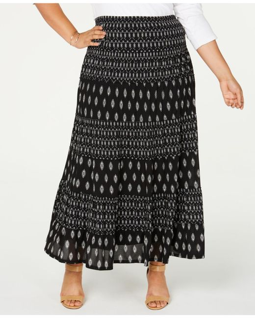 Style & Co. Black Plus Size Printed Tiered Mesh Maxi Skirt, Created For Macy's