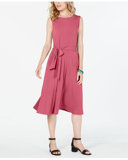 Charter Club Pink Tie-waist Midi Dress, Created For Macy's