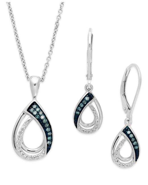 Macy's | Metallic Blue And White Diamond Jewelry Set In Sterling Silver (1/4 Ct. T.w.) | Lyst