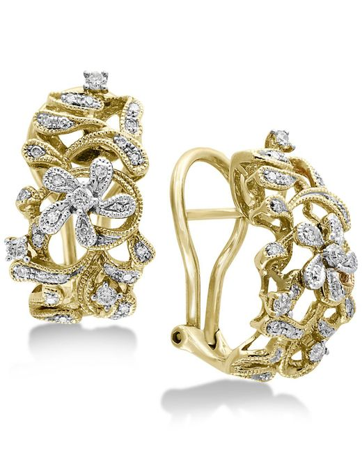 Effy Collection - Metallic Diamond Openwork Floral Drop Earrings (3/8 Ct. T.w.) In 14k Gold & White Gold - Lyst