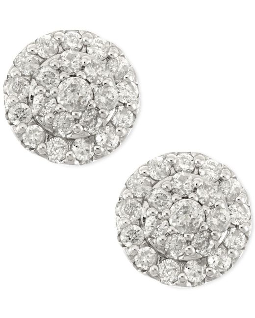 Macy's - Diamond Cluster Stud Earrings In 14k White Gold (1/2 Ct. T.w.) - Lyst