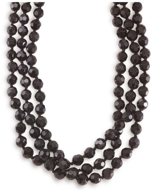 Carolee - Black Necklace, Jet Bead Long Rope - Lyst