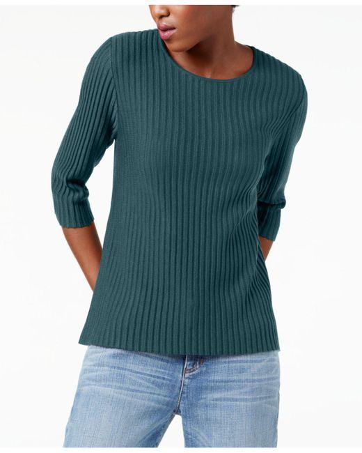 Eileen Fisher | Blue Wool Ribbed Sweater, Regular & Petite | Lyst
